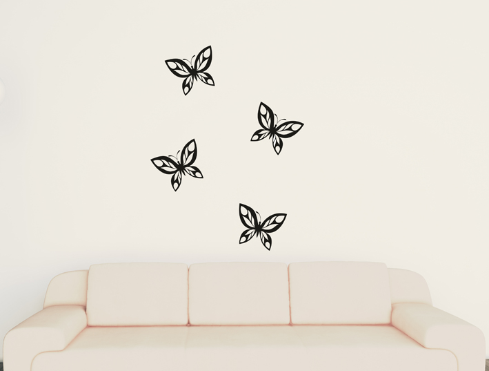 4 Schmetterling Set Wandtattoo