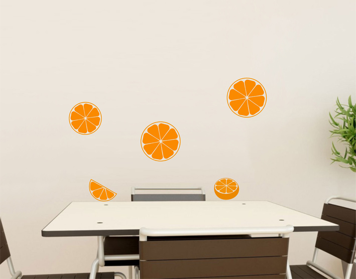 wandtattoo orange wandtattoos k che von. Black Bedroom Furniture Sets. Home Design Ideas