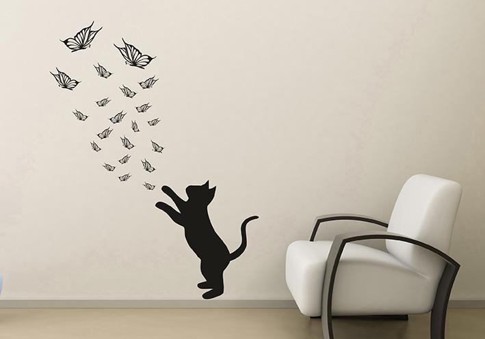 Wandtattoo katze schmetterling reuniecollegenoetsele - Katzen wandtattoo ...