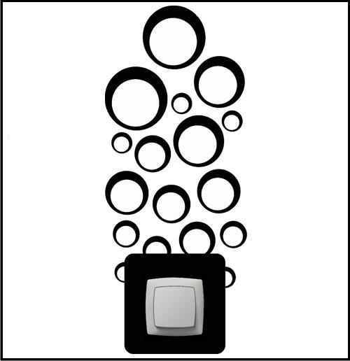 wandtattoo steckdosen und lichtschalter retro kreise 5280. Black Bedroom Furniture Sets. Home Design Ideas
